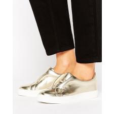 Lost Ink - Tommy - Goldene Stoffschuhe ohne Schnürsenkel