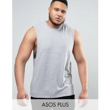 ASOS PLUS - Ärmelloses grau meliertes T-Shirt