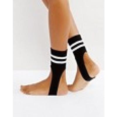 ASOS - Gestreifte Socken mit Steg - Schwarz