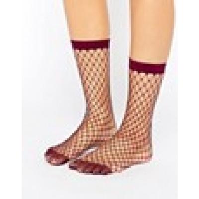 ASOS - Socken mit übergroßem Netzmuster in Beere - Violett