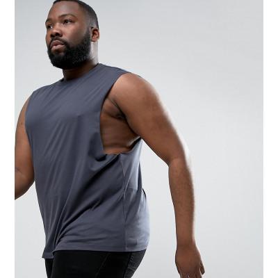 ASOS PLUS - Ärmelloses graues T-Shirt