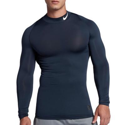 Nike PRO COMPRESSION MOCK LS TOP Kompressionsshirt Herren blau