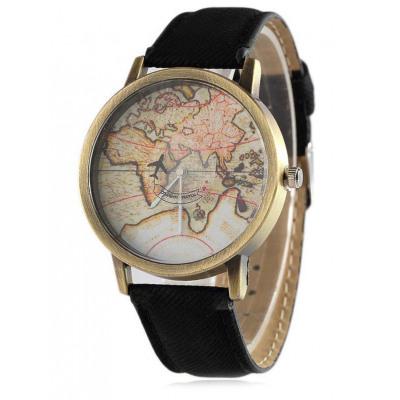 Kunstleder Karte Quarz-Uhr
