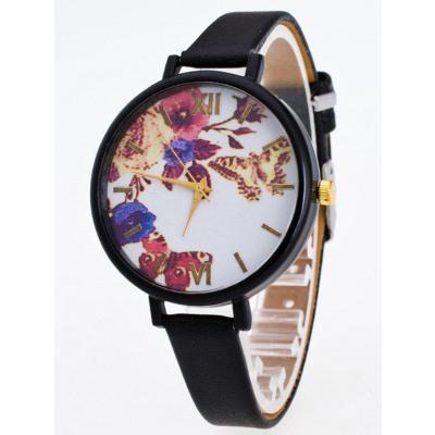 Kunstleder-Blumen-Schmetterlings-Uhr