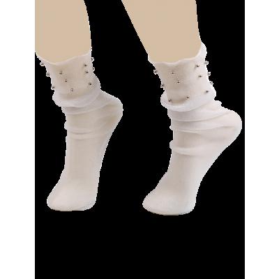 Perlen Lurex Garn Mesh Crew Socken