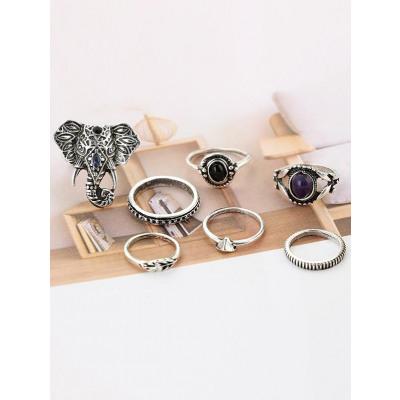 7 Stck Bhmische Augen Elephant Ringe
