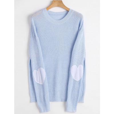Pullover-Strickjacke mit Herz-Ellenbogen Patch