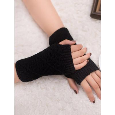 Gestreiftes Muster Fingerlose Strickhandschuhe