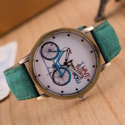 Fahrrad Muster Kunstleder Quarzuhr