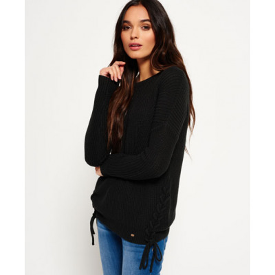 Superdry Arizona Lace Up Rippstrickpulli